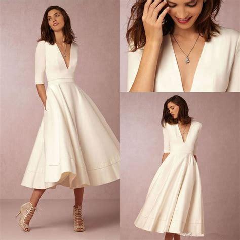Tea Length Wedding Dresses by Sales Tea Legth V Neck Half Sleeve