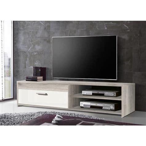meuble de tv finlandek meuble tv katso contemporain d 233 cor ch 234 ne cendr 233 et blanc brillant l 120 cm achat