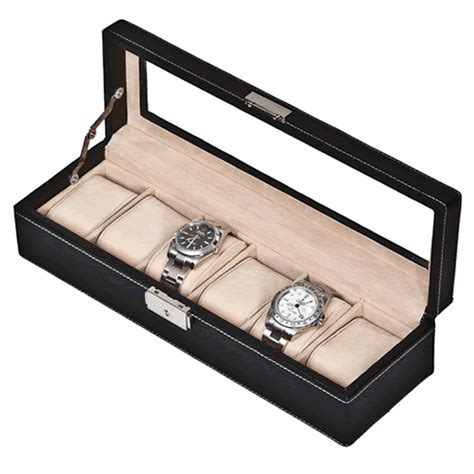Decorative Display Cases by Black Leather Six Display With Decorative White