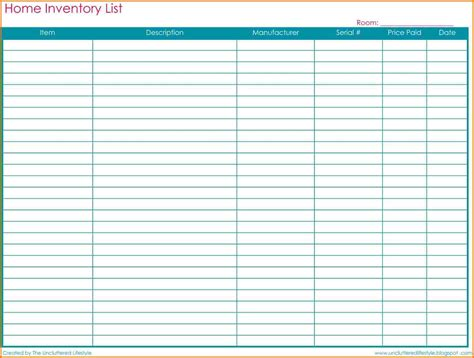 Household Inventory Spreadsheet by Household Inventory List Template Call Sheets Template