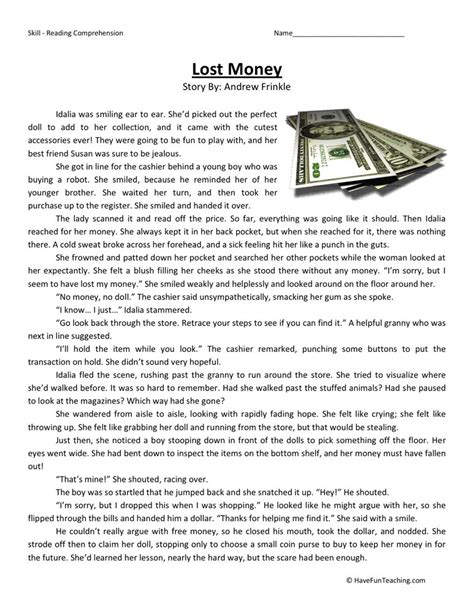 Fourth Grade Reading Worksheets by Reading Comprehension Worksheet Lost Money