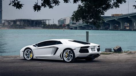 white lamborghini aventador wallpaper lamborghini aventador white supercar at riverside