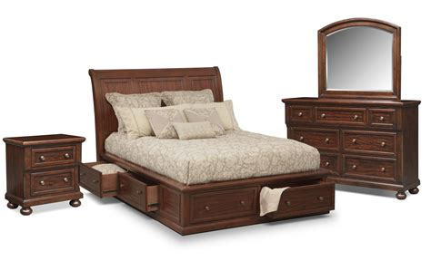 bedroom furniture storage hanover 6 piece king storage bedroom set cherry american signature furniture