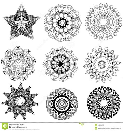 ornament beautiful set with mandala stock vector image