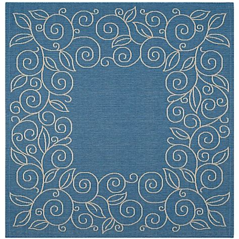 10 foot square blue rug safavieh vine scroll indoor outdoor rug bed bath beyond