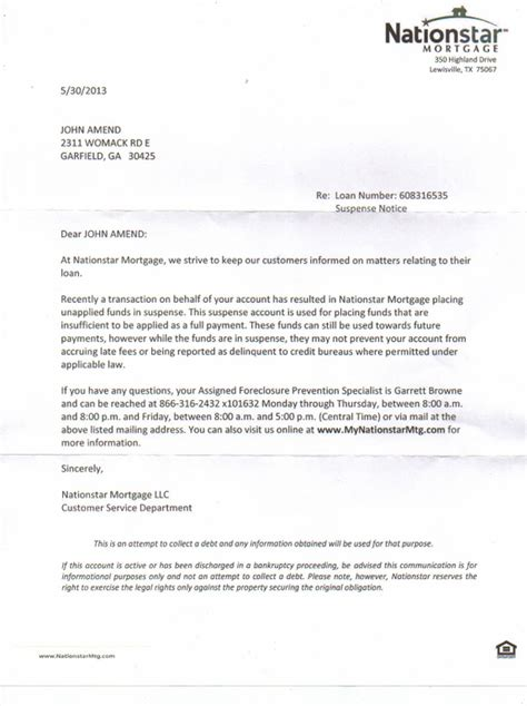 Mortgage Shock Letter Ripoff Report Nationstar Mortgage Complaint Review Lewisville