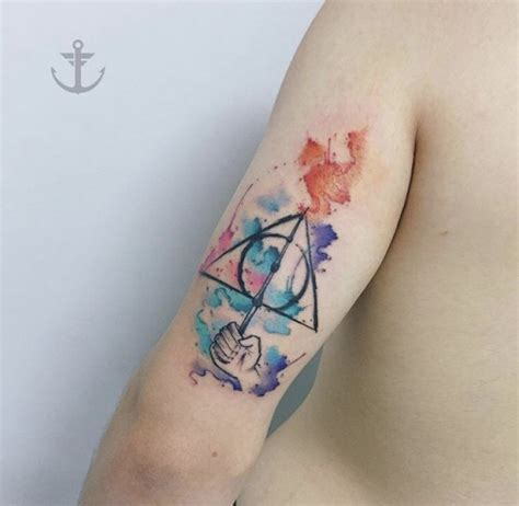 watercolor tattoo halifax deathly hallows tattoos all things