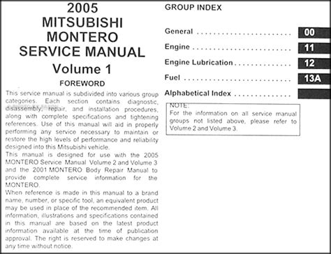 car repair manuals download 2005 mitsubishi montero auto manual 2005 mitsubishi montero repair shop manual original set