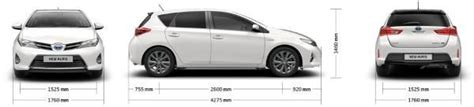 Toyota Auris Size Width Excluding Door Mirrors 1 760mm