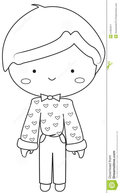 vintage dress coloring page boy wearing vintage dress coloring page stock illustration