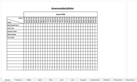 Muster Rechnung Putzfrau Anwesenheitsliste 2016 Excel Vorlagen F 252 R Jeden Zweck