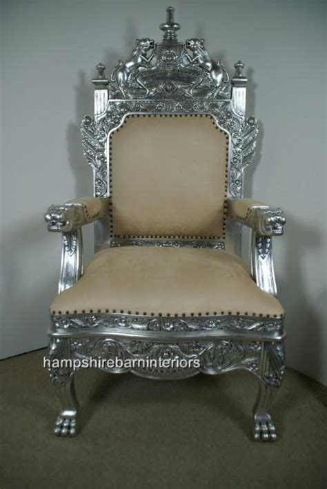 Royal Throne Chair by The Tudor Royal Throne Chair In Silver And