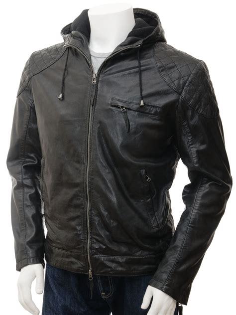 hooded leather jacket mens mens black hooded leather jacket aller caine
