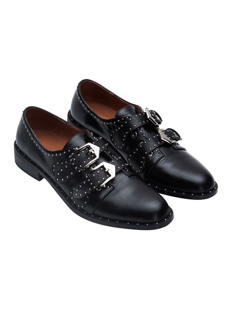black leather studded detail buckle pointed toe flat