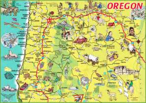 pictorial travel map of oregon