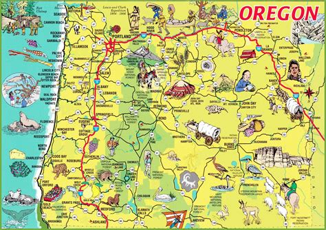 oregon map usa pictorial travel map of oregon