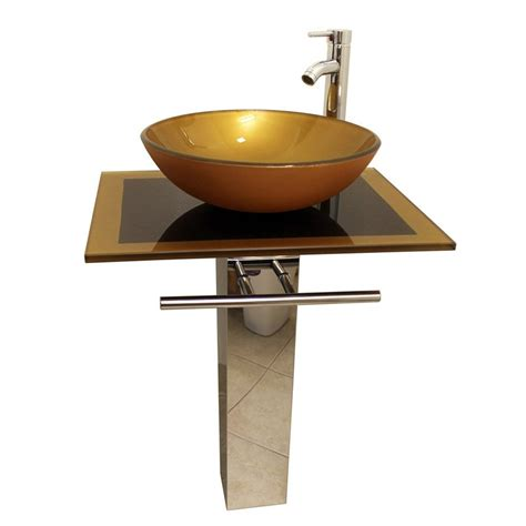 Glass Vanities And Sinks by Shop Kokols Usa Mustard Gold Vessel Single Sink Bathroom