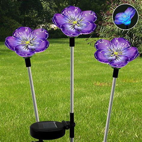 walmart solar lights outdoor solar garden stake lights 3 pack handpainted violets