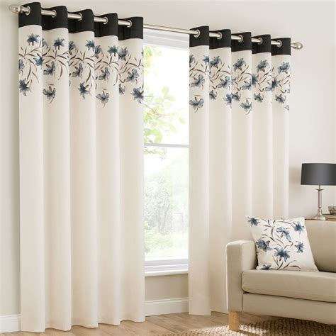 black and cream eyelet curtains grommet eyelet top lined pair window curtain panels lily