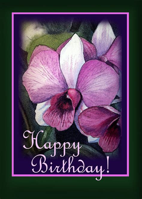 orchids and watercolor 95th birthday happy birthday purple orchid painting by irina sztukowski