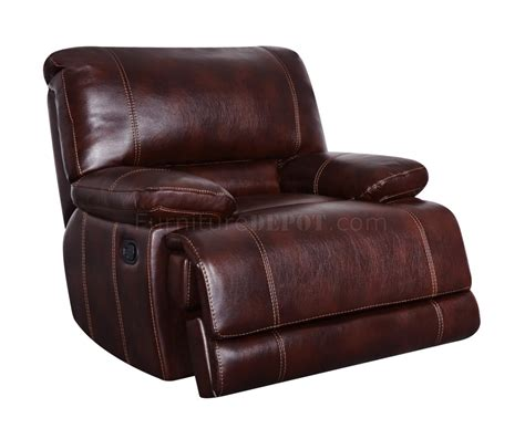 U1953 Reclining Sofa In Coffee Bonded Leather Global Bonded Leather Recliner Sofa