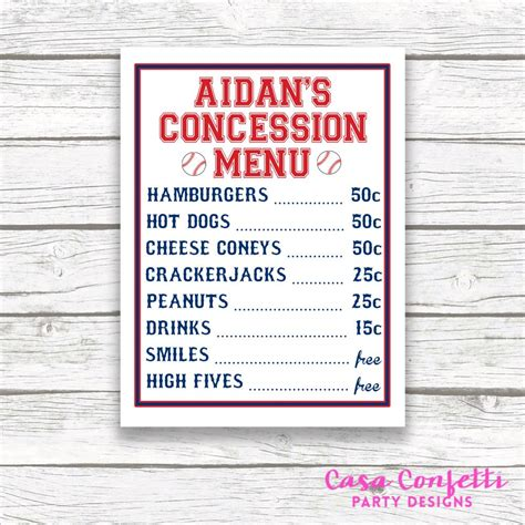 Baseball Concession Menu Sign Printable Birthday Baby Shower Concession Stand Menu Template Free
