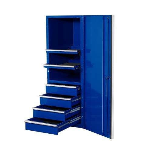 side of cabinet storage extreme tools 24 in 4 drawer 2 shelf professional side cabinet blue ex2404scbl the home depot