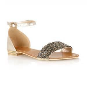 Home sandals dolcis diamond gem embellished flat sandal gold