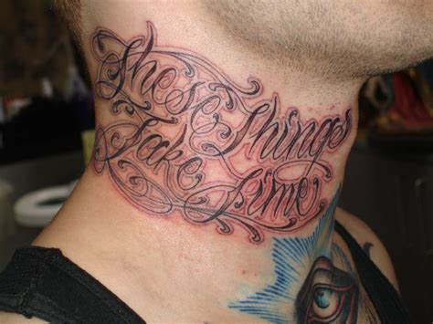 These Things Take Time Tattoo On Neck Letters Tattoos On Neck 2