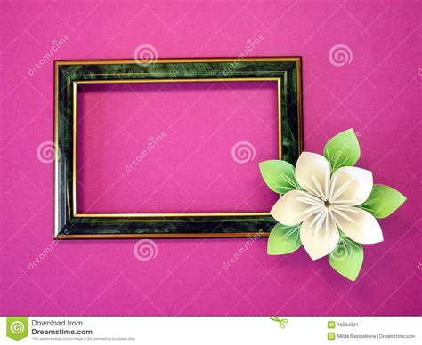 Frame Origami - frame and origami flower stock image image 16084631