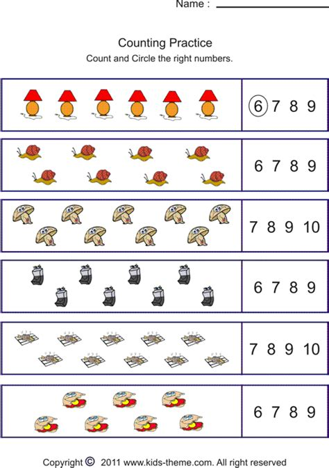 printable worksheets counting to 10 counting objects to 10 worksheets