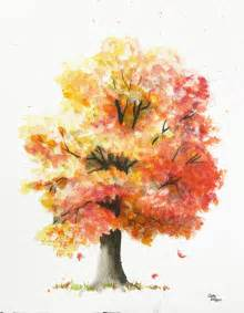 water color trees autumn tree original watercolor painting by cathy by