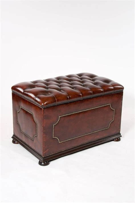 leather ottomans on sale antique leather upholstered ottoman for sale at 1stdibs