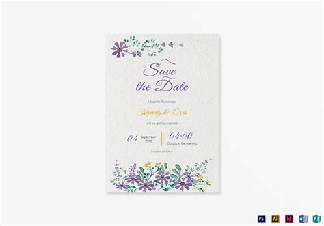 Garden Save The Date Card Template In Psd Word Publisher Illustrator Indesign Save The Date Indesign Template