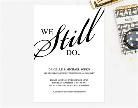 Vow Renewal Invitation Quot We Still Do Quot Black And White Custom Printable Invitation Card Template Vow Renewal Invitations Templates