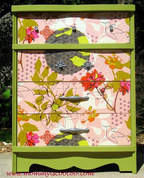 Decoupage Materials - decoupage dresser with horner fabric