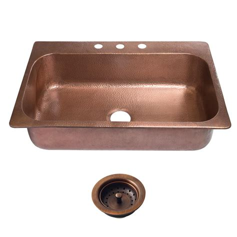 copper kitchen sinks sinkology angelico drop in copper sink 33 in 3 hole