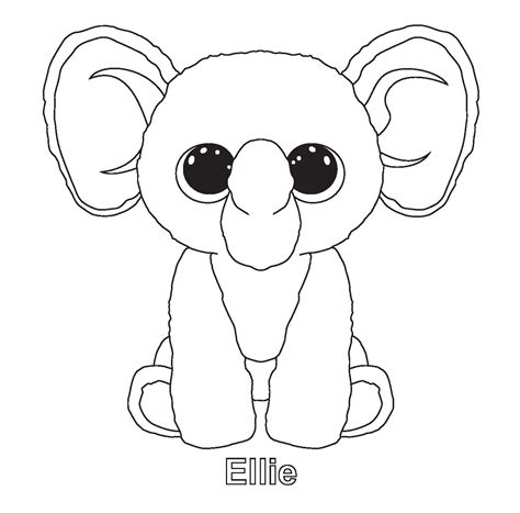 ellie elephant coloring page ty art gallery