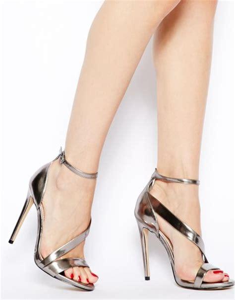 Heels Gosh carvela kurt geiger gosh gunmetal single sole heeled sandals in silver gunmetalmicrofibre lyst