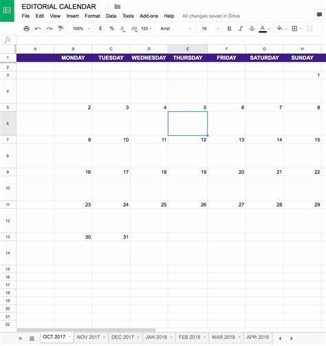 Calendar Template 2017 Google Docs
