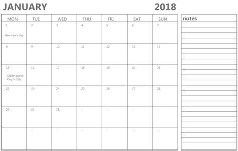 calendar with notes template january 2018 calendar with notes calendar template