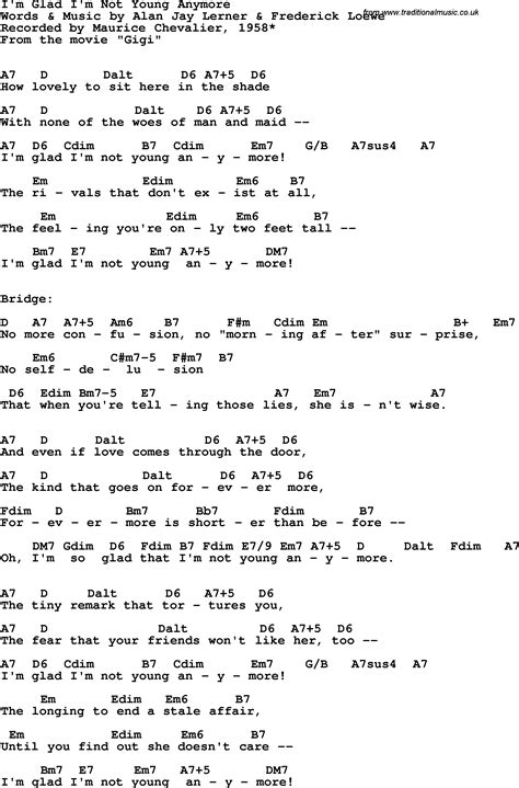 lyrics chevalier song lyrics with guitar chords for i m glad i m not
