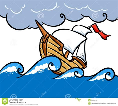 ship in storm clip art cliparts - Cartoon Boat In Storm