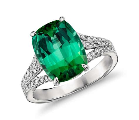 green tourmaline and micropav 233 ring in 18k white