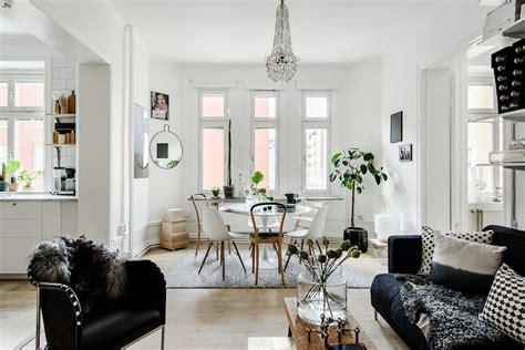 black and white home decor meets cozy social floor plan