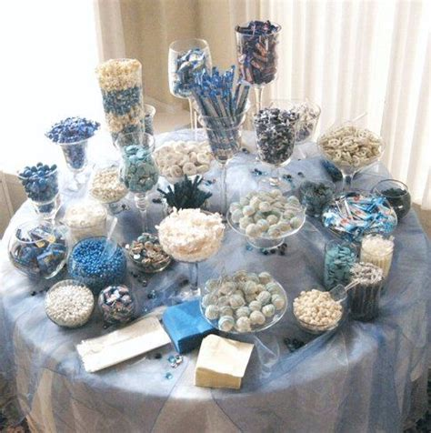 Blue Candies For Baby Shower by Blue White Buffet Can Be Used Instead Of Giving Out