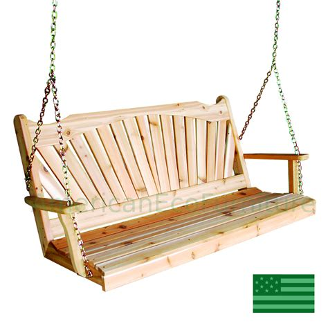 swing usa amish cedar fan back porch swing made in usa american