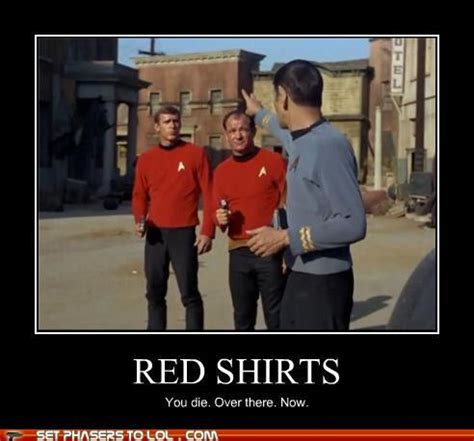 Redshirt Meme - why you should never wear the red shirt the old gray cat
