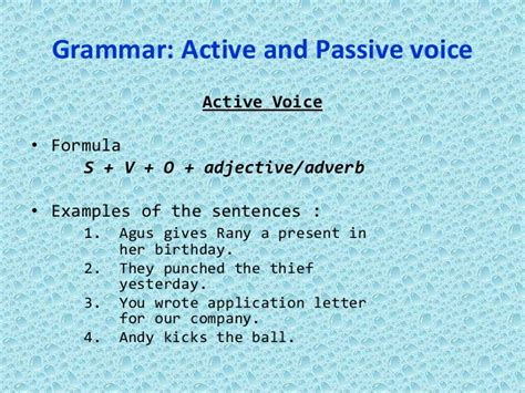 Business Letter Written In Passive Voice active voice and passive voice