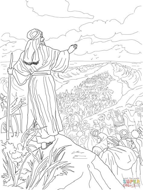 israelites crossing the red sea coloring page free
